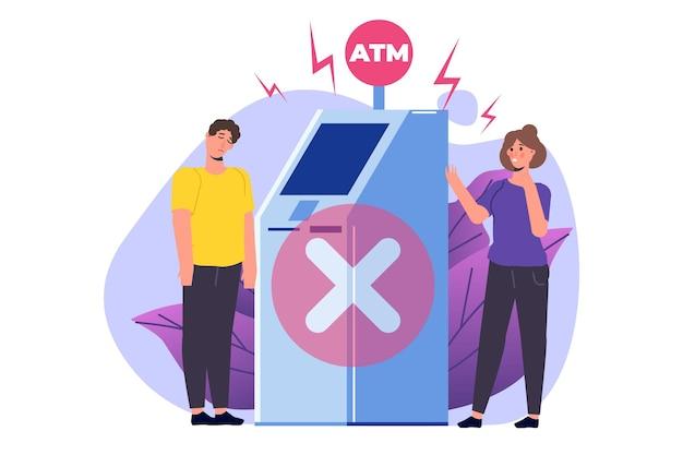 Atm-fout. geen geld en verdrietige klanten in de buurt. problemen met geldautomaat