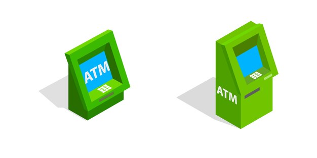 Atm - geautomatiseerde tellersmachine die op witte achtergrond wordt geplaatst.