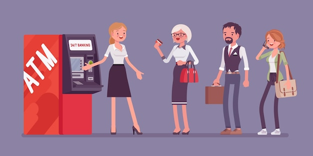 Atm-lijn en vrouwelijke assistent die klanten helpen