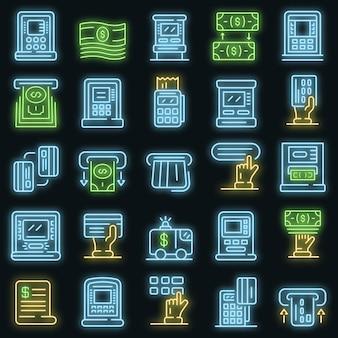 Atm-machine pictogrammen instellen. overzicht set van geldautomaat vector iconen neon kleur op zwart