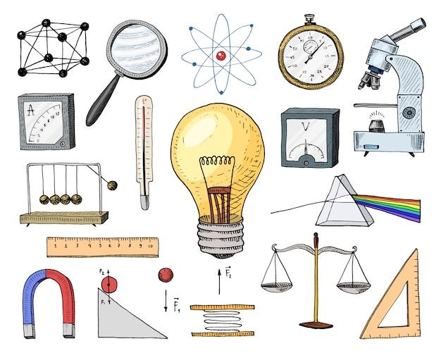 Atoom en voltmeter met perpetuum mobile, circuit en grafiek. gegraveerde hand getrokken in oude schets en vintage symbolen. berekeningen natuurkunde back to school elements of science en laboratoriumexperimenten.