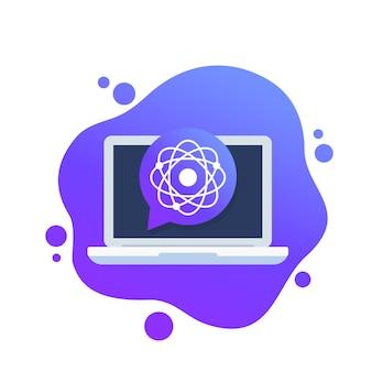 Atoom, nucleair onderzoek icoon met een laptop