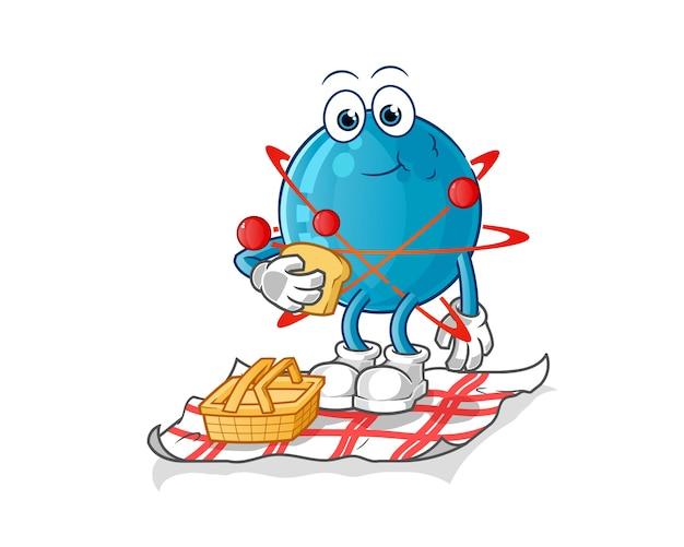 Atoom op een picknick cartoon afbeelding