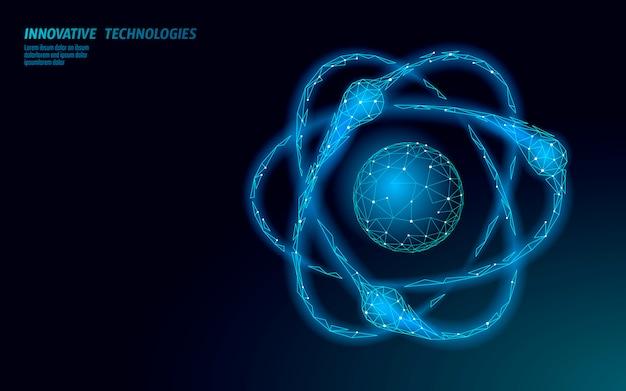 Atoom structuur wetenschap teken. e-learning afstand afgestudeerd online concept. laag poly 3d render fysica chemie ontwerpsjabloon voor spandoek. internet opleiding cursus graad illustratie
