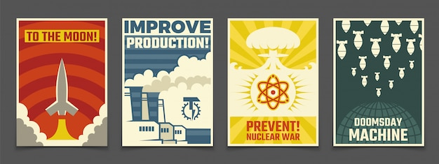 Atoomoorlog militaire, vreedzame ruimte vintage posters