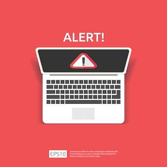 Attentie waarschuwing aanvaller waarschuwingsbord met uitroepteken op computerscherm. pas op alertheid van internet gevaar symboolpictogram.