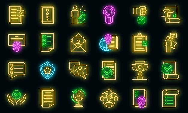 Attest service pictogrammen instellen. overzicht set van attest service vector iconen neon kleur op zwart