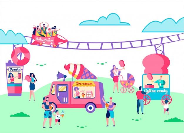 Attractiepark. mensen rijden op carrousel