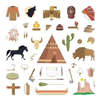 Attributen van native american. vectorillustratie van inheemse mensen dingen.