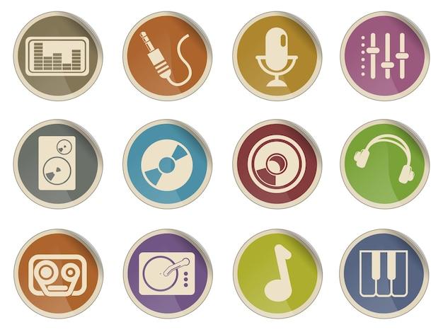 Audio muziek eenvoudige vector iconen