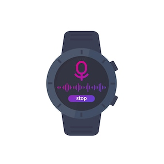 Audio-opname ui, recorder in slim horloge, vector