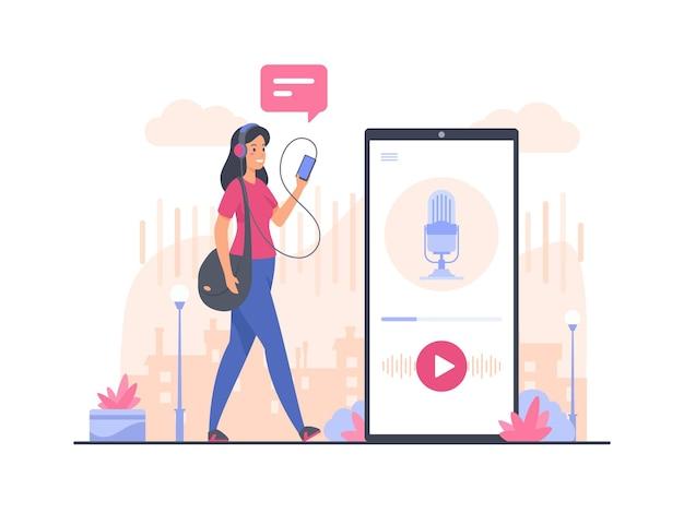 Audio podcast concept illustratie. vrouwelijk stripfiguur wandelen en luisteren naar audiopodcast met smartphone