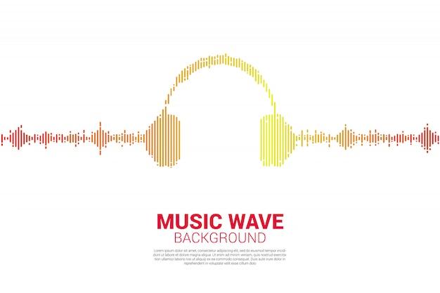 Audio visuele hoofdtelefoon pictogram met pixel golf grafische stijl