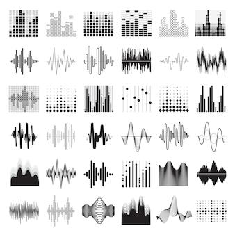 Audioequaliser zwarte witte pictogrammen geplaatst vlak geïsoleerde vectorillustratie