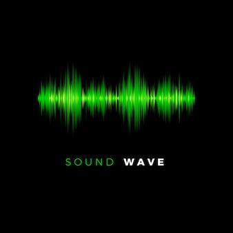 Audiogolf. sound beat lijn. muziekequalizer op donkere achtergrond. illustratie
