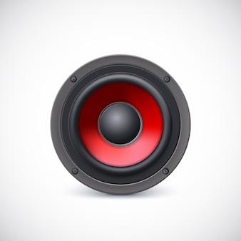 Audiospreker met rode diffuser