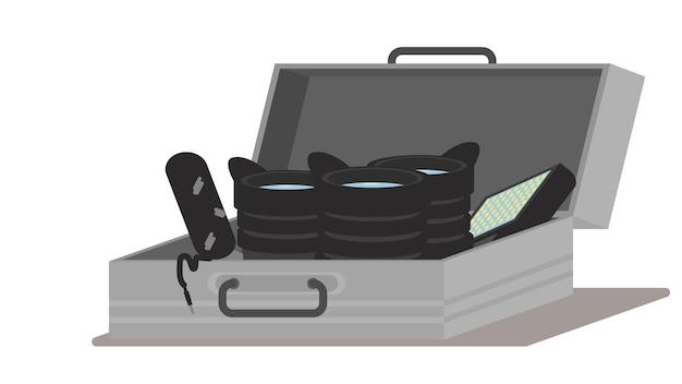 Audiovisuele koffer vectorillustratie