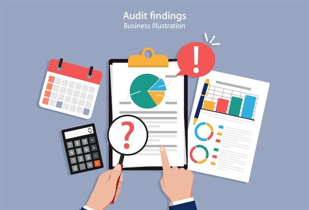 Audit bevindingen concept, auditor krijgt bevindingen bij het controleren van financiële documenten