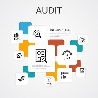 Audit infographic 10 lijn pictogrammen template.review, standaard, onderzoeken, verwerken van eenvoudige pictogrammen