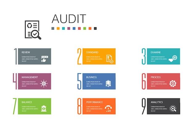 Audit infographic 10 optie lijn concept.review, standaard, onderzoeken, verwerken van eenvoudige pictogrammen