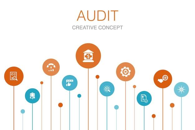 Audit infographic 10 stappen template.review, standaard, onderzoeken, verwerken van eenvoudige pictogrammen