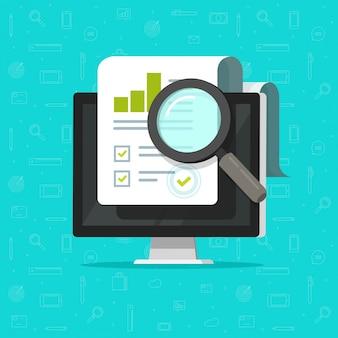 Audit onderzoek op computer of financiële papieren document rapport data-analyse op pc
