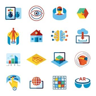 Augmented en virtuele realiteit iconen collectie
