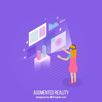 Augmented reality-achtergrond in isometrische stijl