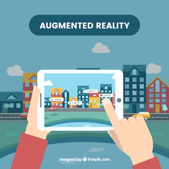 Augmented reality-achtergrond in vlakke stijl