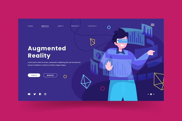 Augmented reality-concept - bestemmingspagina Gratis Vector