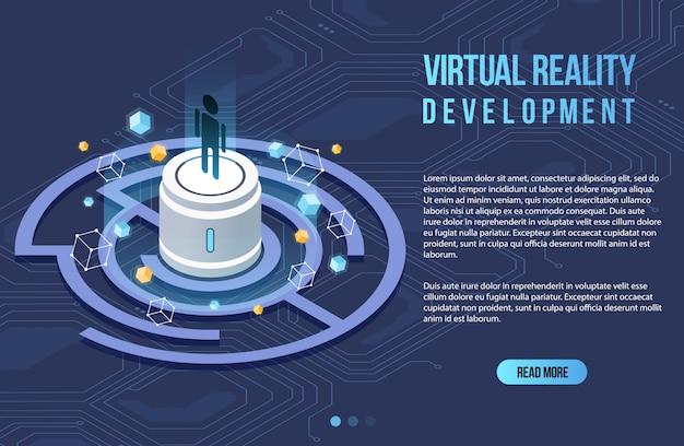 Augmented reality concept isometrische banner. platte ontwerpsjabloon voor mobiele app en website. virtuele realiteit isometrische illustratie.