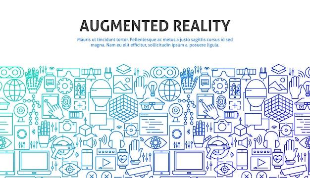 Augmented reality-concept. vectorillustratie van lijn website design. sjabloon voor spandoek.