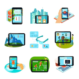 Augmented reality icons set Gratis Vector