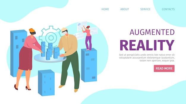 Augmented reality in digitale technologie, mensen in vr-brilconcept Premium Vector