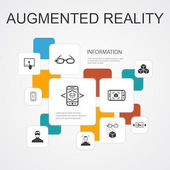 Augmented reality infographic 10 lijn pictogrammen sjabloon. gezichtsherkenning, ar app, ar spel, virtual reality eenvoudige pictogrammen