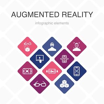 Augmented reality infographic 10 optie kleurontwerp. gezichtsherkenning, ar-app, ar-spel, virtual reality eenvoudige pictogrammen