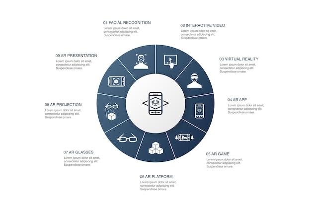 Augmented reality infographic 10 stappen cirkelontwerp. gezichtsherkenning, ar-app, ar-spel, virtual reality eenvoudige pictogrammen