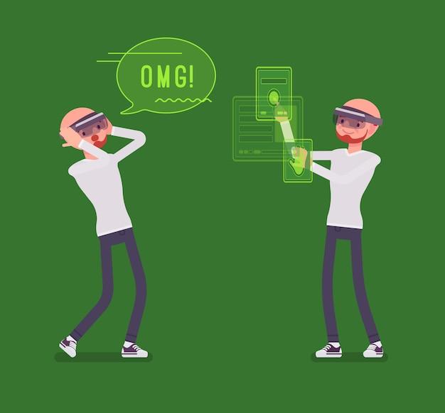 Augmented reality-man met positieve ervaring