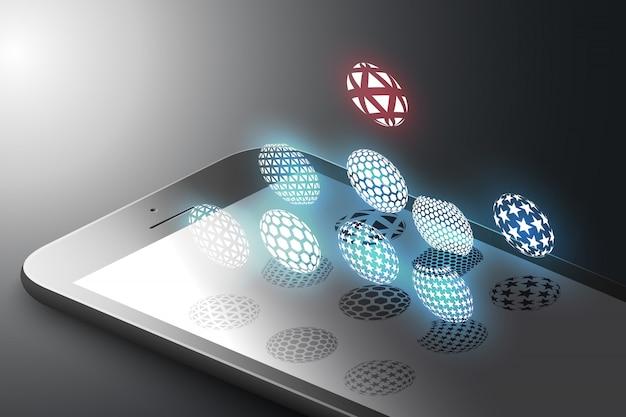 Augmented reality marketingconcept. zwarte kleur slimme telefoon met minimalistische designvormen