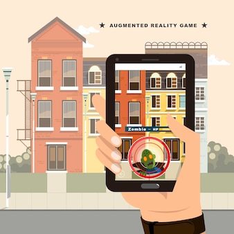 Augmented reality-spelconcept in vlakke stijl