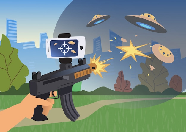 Augmented reality-spellen. jongen met ar-pistool dat een schutter speelt.