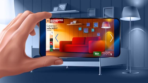 Augmented reality-toepassing van smartphone waarmee u virtueel meubilair bij u thuis kunt plaatsen.