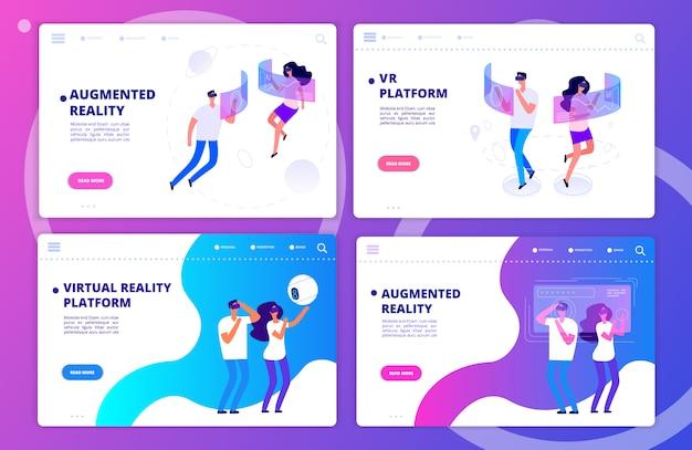 Augmented reality, virtual reality-games en sjablonen voor bestemmingspagina's van platforms