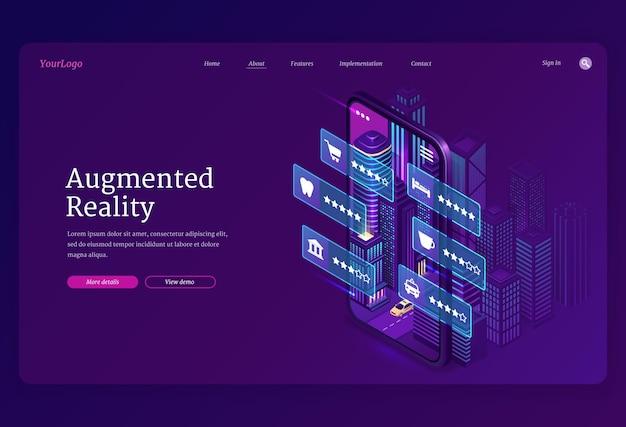 Augmented reality websjabloon. ar-technologieën, slimme app voor mobiele telefoon met virtuele infographic