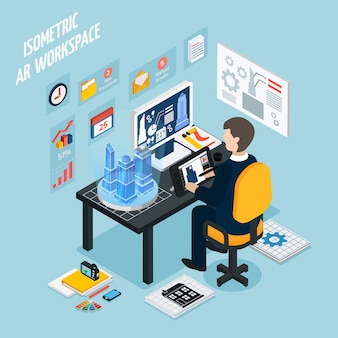 Augmented reality workplace isometrische samenstelling