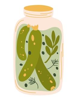 Augurken in pot, geïsoleerde pot ingelegde komkommers. gefermenteerde groenten. gemarineerde groenten in blik, zelfgemaakte productie vol probiotica. crunch augurk met zout. biologisch product. vector