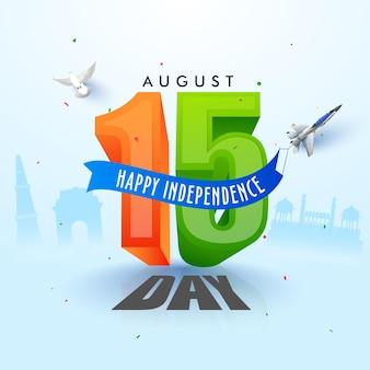 Augustus van 3d 15 nummer met straaljager, duif vliegen op blauwe silhouet beroemde monument achtergrond voor happy independence day concept.