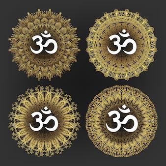 Aum-symbool van de hindoe-godheid god shiva set