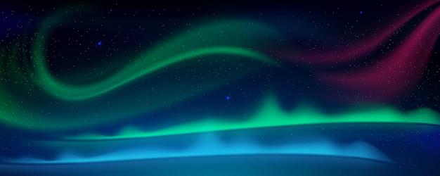 Aurora borealis noorderlicht in arctische hemel 's nachts cartoon vectorillustratie van winterhemel met...