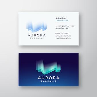 Aurora borealis northern lights visitekaartje sjabloon.